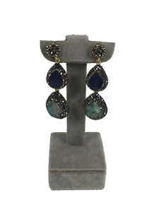 Turkish Handmade Jewelry Turquoise Duruzit 925 Silver Woman Earring - 029