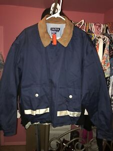 Mens Vintage Nautica Jacket Leather Collar Spell Out Large