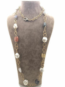 Turkish Handmade Jewelry Pearl Quartz 925 Silver Woman Necklace 35