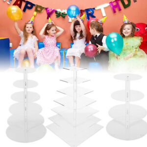 4-7 Tier Cupcake Stand Clear Acrylic Round Wedding Birthday Cake Display Tower