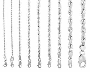 Solid 14K White Gold 1mm-7mm Rope Chain Link Pendant Necklace Men Women 16