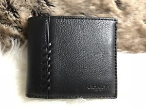 NWT Coach Men's Baseball Stitch Bifold Wallet In Black Leather (wo Insert)