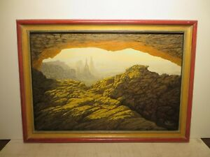 22x33 org. 1980 oil painting by Daniel Kendrick of Eye of the Needle Masterpiece
