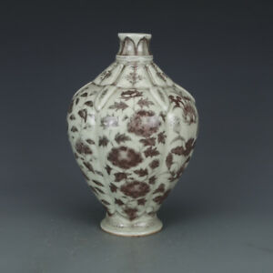Chinese antique Glazed red flowers pattern Porcelain vase pot