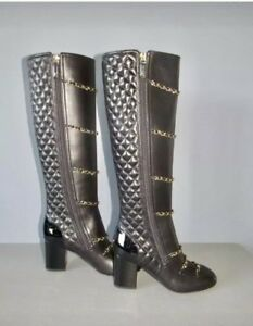 $2100 CHANEL CC NEW BLACK QUILTED KNEE HIGH BOOTS BAG SHOES 38