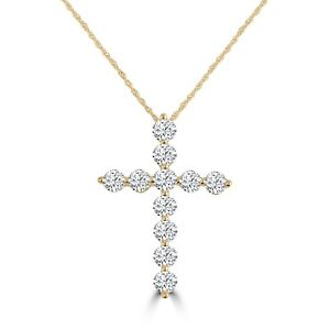 1.50ct Floating Diamond 14k Yellow Gold Cross Pendant Necklace