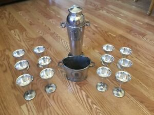 1920s era SILVERCRAFT Cocktail Shaker Set - 12 Goblets - Shaker - Ice Bucket!!!!