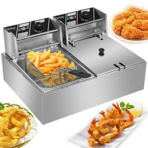 12L Electric Deep Fryer Dual Tank Stainless Steel 2 Fry Basket Commercial 5000W $69.99