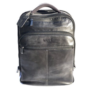 Kenneth Cole Men's Genuine Leather Black Business Laptop Computer Backpack 17