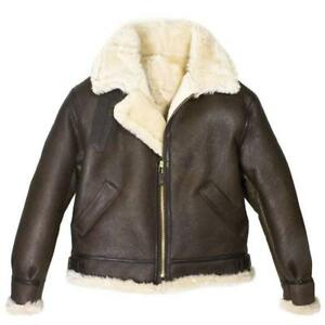 Men's B3 Brown Bomber WWII Pilot Real Sheepskin Shearling Aviator Leather Jacket