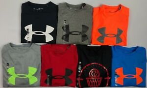 Boys Youth Under Armour Heatgear Loose Fit Long Sleeve Polyester T Shirt Size S $16.99