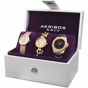 New Women's Akribos XXIV AK766YG Gold-tone Three Piece StrapBracelet Gift Set