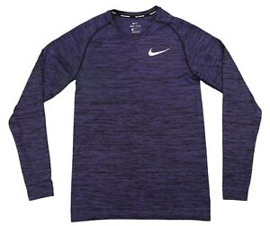 Nike Dri-Fit Knit Long Sleeve Running Top Shirt Purple Black DRY Small