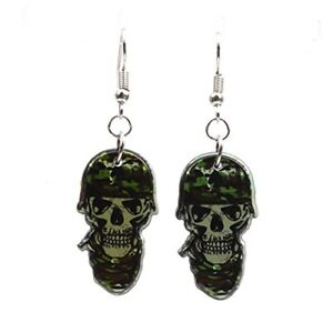 Sterling Silver Plated Cute camouflage Skull zombies Charm Dangle Earrings