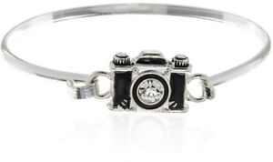 Black Camera Charm Bangle Bracelet for Women and Girls Vintage Jewelry 6.5 inch