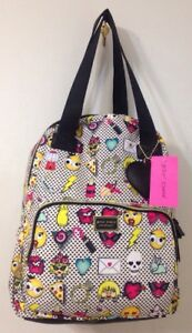 Betsey Johnson Emoji print Backpack Tote Travel Diaper Bag Polka Dot Hearts NW