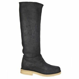 55729 auth HERMES black shearling DAKOTA Knee-High Boots Shoes 38.5