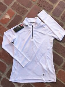 NWT Under Armour UA Youth Girls Pullover Shirt 14 Zip White Golf Size XL