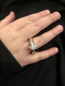 Diamond Marquise Engagement Ring 1.25ct Round Channel Mounting Yellow Gold
