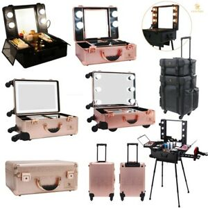 Hollywood Rolling Cosmetic Make up Trolley Case w Lighted Mirror 9 Style Black