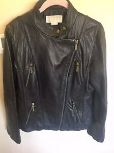 Michael Kors Black Soft Leather Moto Jacket Size Large