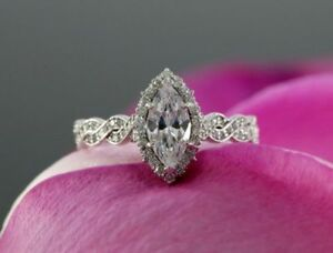 2.85Ct White Marquise Diamond Engagement Wedding Ring Certified 14K White Gold