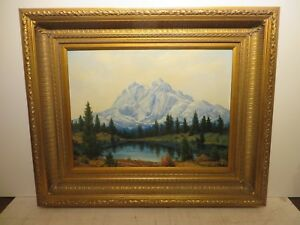 18x24 org. 1969 oil painting by Dwight C Holmes of Signal Peaks Grand Teton Mtn.