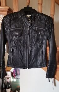 New MICHAEL Michael Kors Soft  Lamb black  Leather Moto Biker Jacket $498 S