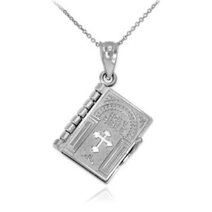 Sterling Silver 3D English Bible Pendant Necklace