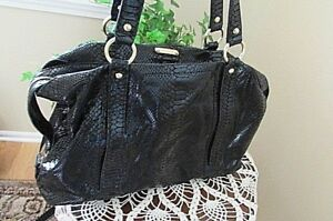 Michael Kors Python Embossed Black Patent Leather large tote sachel Handbag