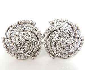 4.25CT SPIRAL KALEIDOSCOPE CIRCULAR ROTARY TWIST 18KT DIAMONDS EARRINGS +