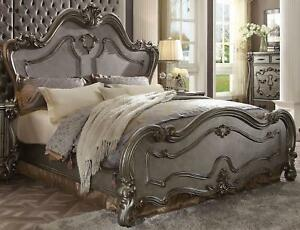 Antique Platinum Finish Queen Size Bed Classic Acme Furniture Versailles 26860Q