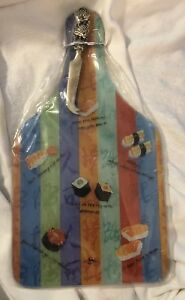New Glass Sushi Platter w Knife Serving or Hanging Plate Decor Sayings