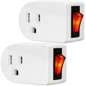 Grounded Outlet Wall Tap Adapter with Red Indicator On/Off Switch(2 Pack)