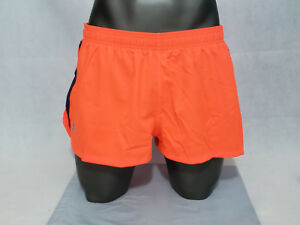 Under Armour mens launch athletic running shorts orange NWT Mesh brief liner 2XL