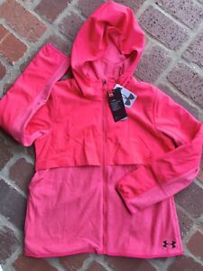 NWT UNDER ARMOUR Girls Hoodie Fleece Full Zip Pink Size XL $65