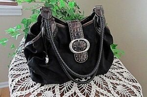 BRIGHTON Black Nylon & Patent Leather Braided Strap Hobo Shoulder Handbag Purse