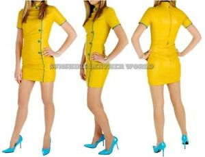 Spring Designer Lamb New Leather Women Dress Cocktail Stylish Party Wear  D-095