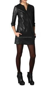 Spring Designer Lamb New Leather Women Dress Cocktail Stylish Party Wear  D-024