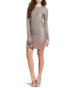Spring Designer Lamb New Leather Women Dress Cocktail Stylish Party Wear  D-160