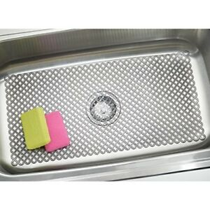 Sink Protector Mat - mDesign Kitchen Extra Large 12x25 Food Pots Dish Flexible