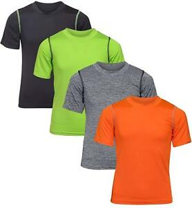 Black Bear Boy's Performance Dry-Fit T-Shirts 4 Pack BlackGreenGreyOrange