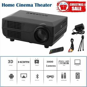 3000 Lumens 1080P 3D Mini Projector Home Theater LED Multimedia HDMI USB BE