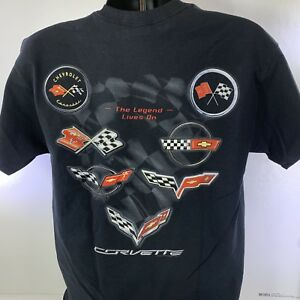 Corvette T Shirt The Legend Lives on C 1 C 2 C 3 C 4 C 5 C 6 C 7 Emblems