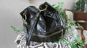 Oryany Lucy nero black Patent  shiny leather large Hobo Shoulder handbag