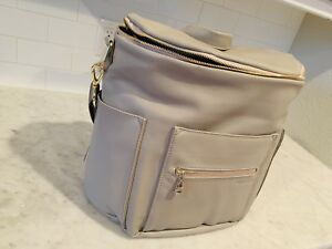 Brand New FAWN DESIGN Original Gray Leather Backpack Diaper Bag **New Style**