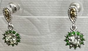 Turkish Diaspore (Csarite) Earrings w Chrome Diopside Sterling Silver MINED