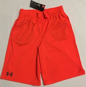 NWT youth Boys' YLG large UNDER ARMOUR shorts heatgear loose fit ORANGE mesh