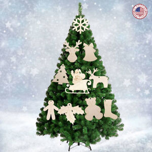 10PCS Big Size Christmas Wooden Craft Xmas Ornament Tree Hanging 3