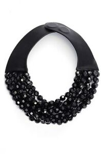 NWT New Fairchild Baldwin Bella Jet Black Beaded Leather Necklace